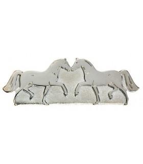 HAPPY ROSS Spinka dwa kłusujące konie srebrna